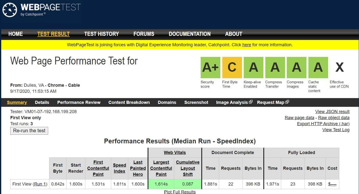 网页质量测试webpagetest