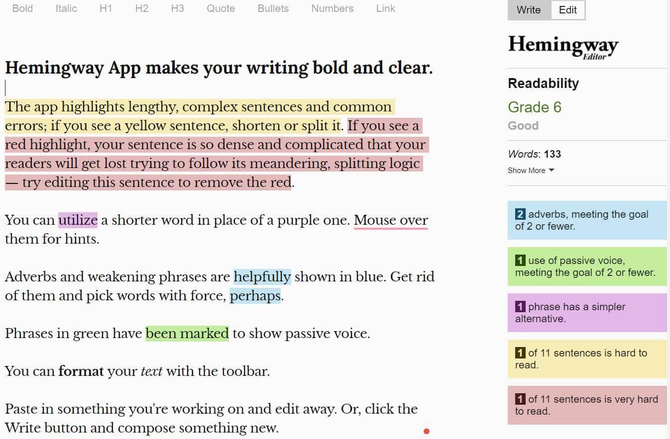 英文写作纠错编辑器Hemingway Editor