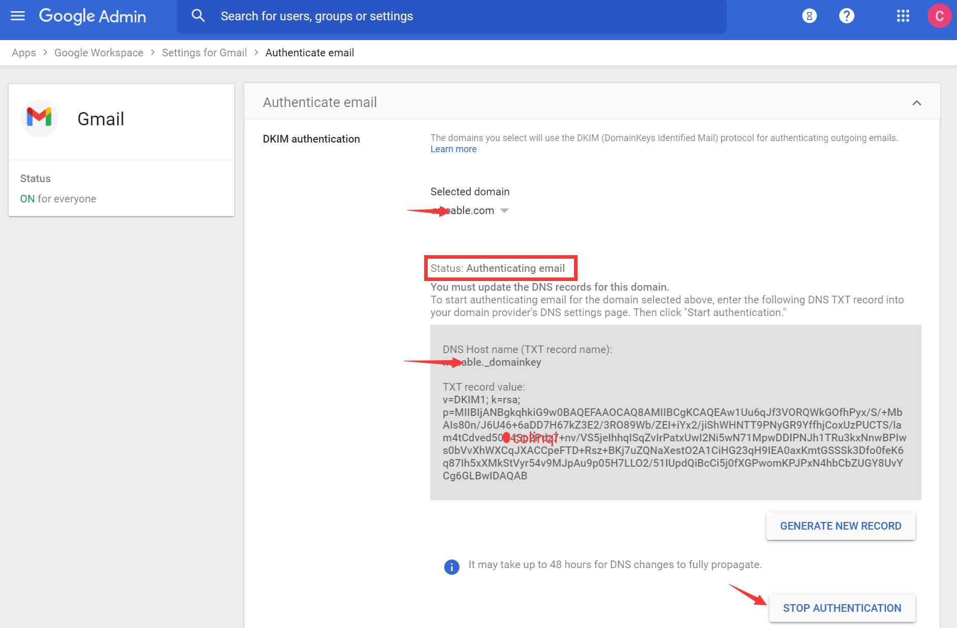 DKIM Gmail Authenticating